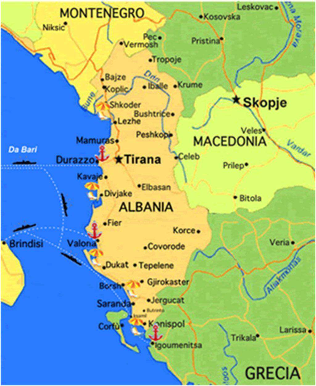 Cartina Di Albania.1 Cartina Albania Report Difesa